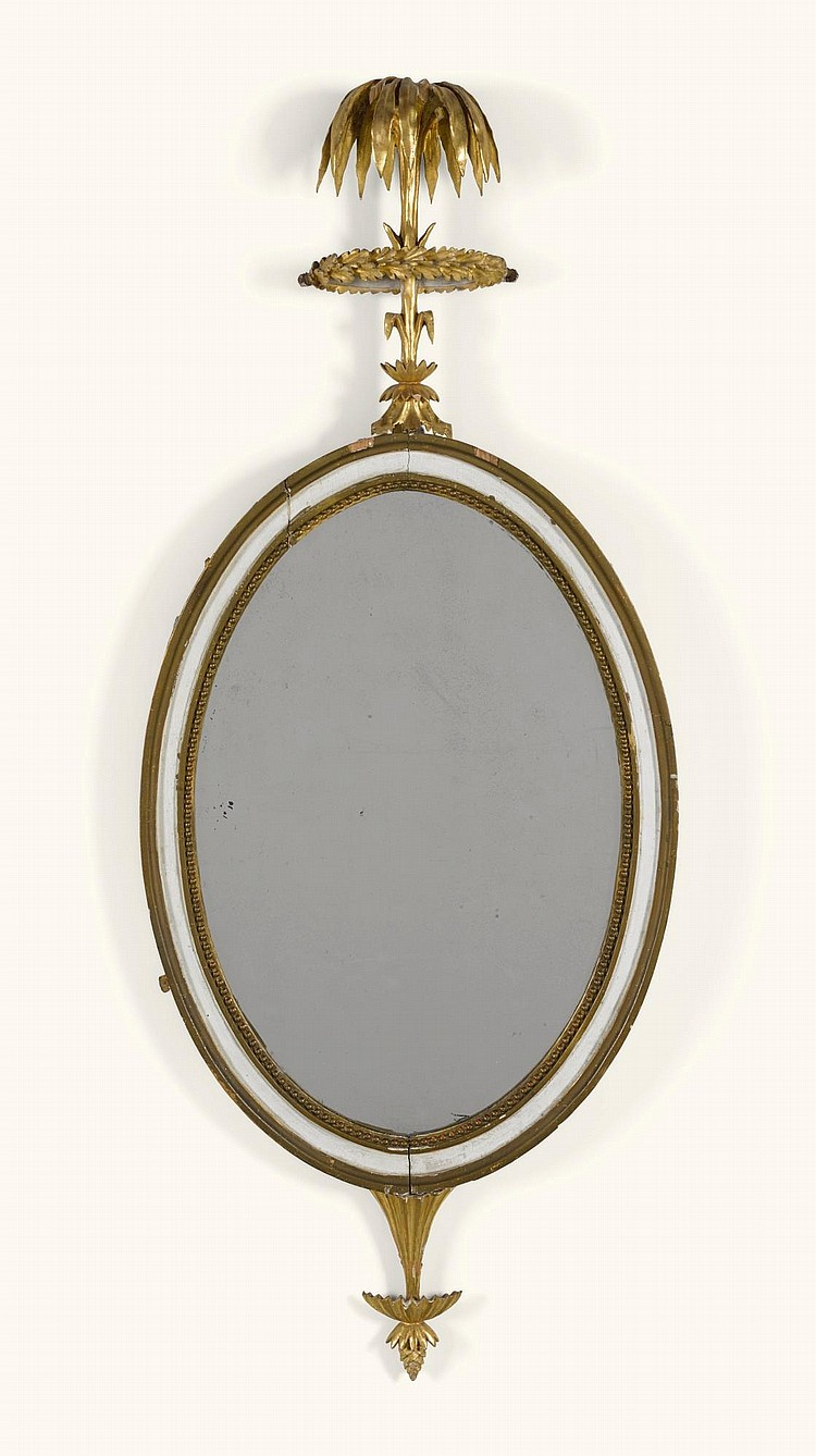 A SMALL NORTH GERMAN NEOCLASSICAL PAINTED AND CARVED GILTWOOD MIRROR LATE 18TH CENTURY |