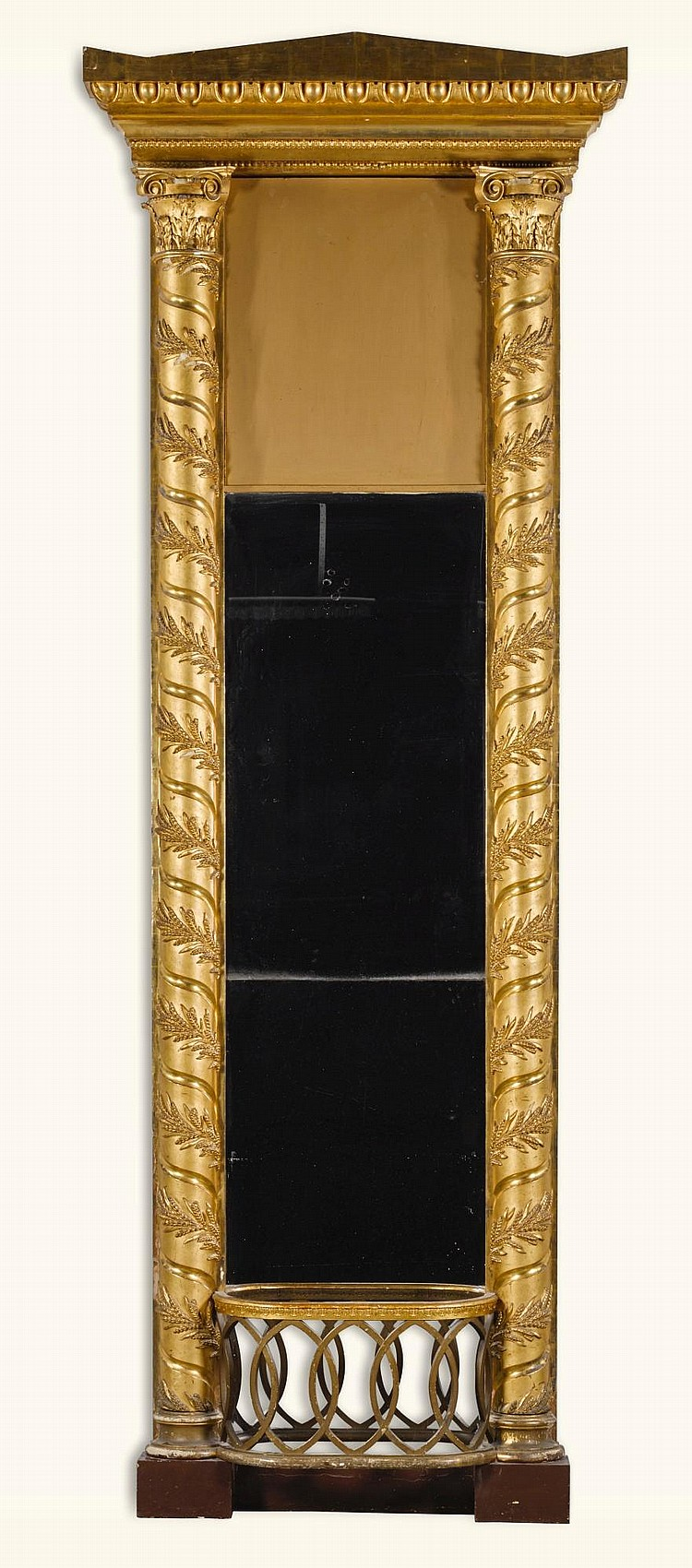 A MONUMENTAL NORTH GERMAN NEOCLASSICAL CARVED GILTWOOD MIRROR, LATE 18TH/EARLY 19TH CENTURY |