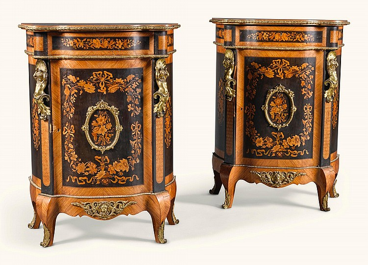 A PAIR OF RUSSIAN GILT-BRONZE MOUNTED TULIPWOOD, AMARANTH AND FRUITWOOD MARQUETRY AND PARQUETRY MEUBLES D'APPUI, PROBABLY BY THE GAMBS WORKSHOP, ST PETERSBURG MID-19TH CENTURY |