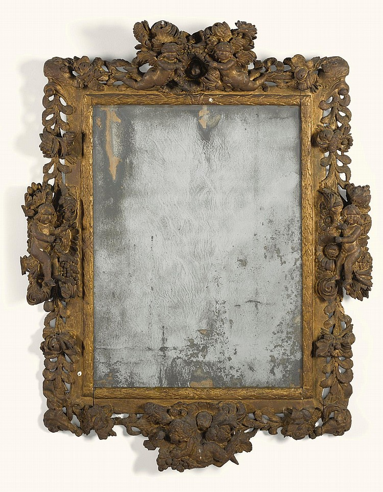 A GERMAN BAROQUE CARVED GILTWOOD MIRROR LATE 17TH CENTURY |