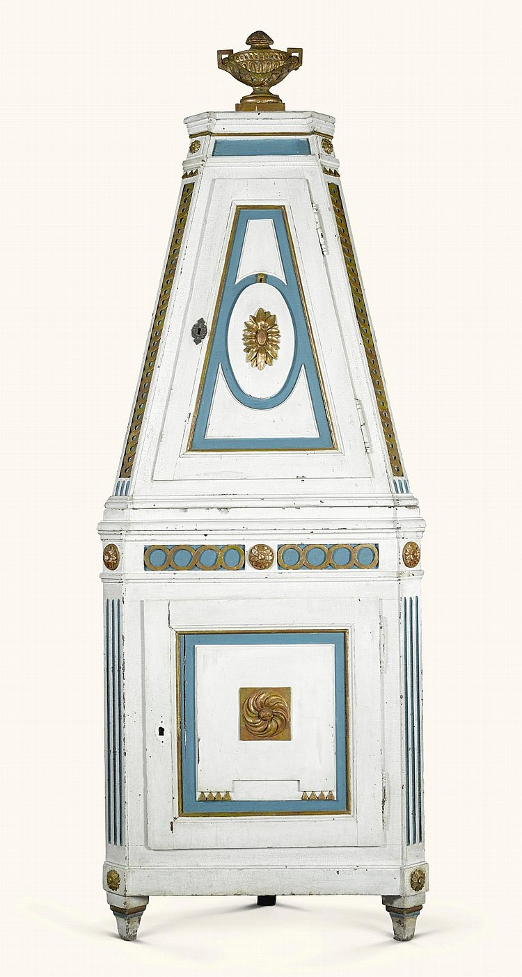 A GERMAN NEOCLASSICAL PAINTED AND PARCEL-GILT CORNER CUPBOARD, WESTPHALIA LATE 18TH CENTURY |