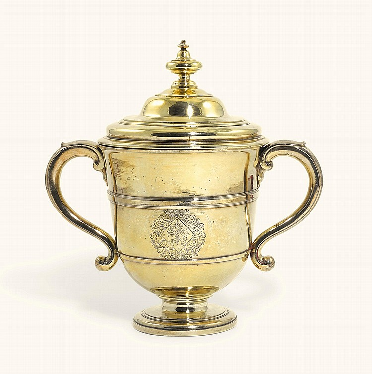 A QUEEN ANNE SILVER-GILT TWO-HANDLED CUP AND COVER, SIMON PANTIN, LONDON, 1708 |
