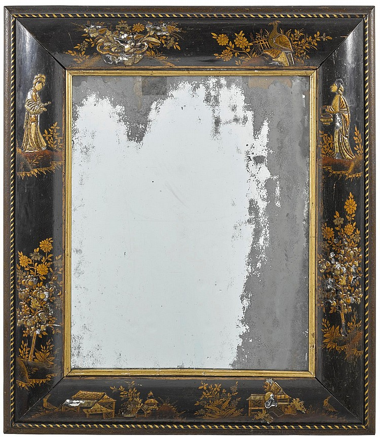 A WILLIAM AND MARY BLACK AND GILT JAPANNED MIRROR, LATE 17TH CENTURY |