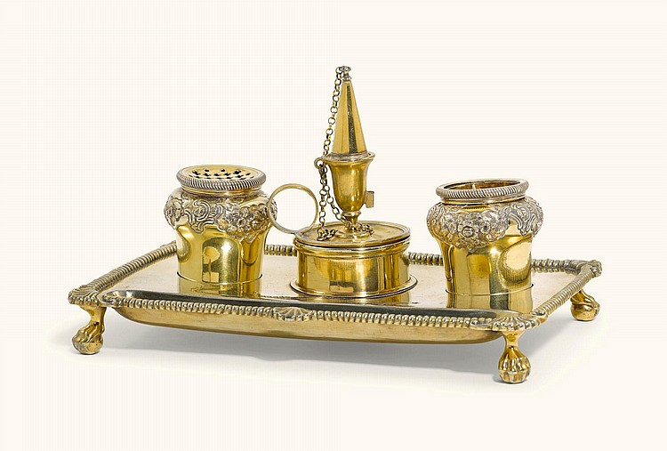 A GEORGE II SILVER-GILT TWO BOTTLE INKSTAND, MAGDELINE FELINE, LONDON, 1755, THE TAPERSTICK, CHAWNER & EMES, 1796 |