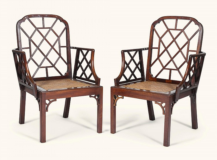 A PAIR OF GEORGE III MAHOGANY OPEN ARMCHAIRS, CIRCA 1760 |