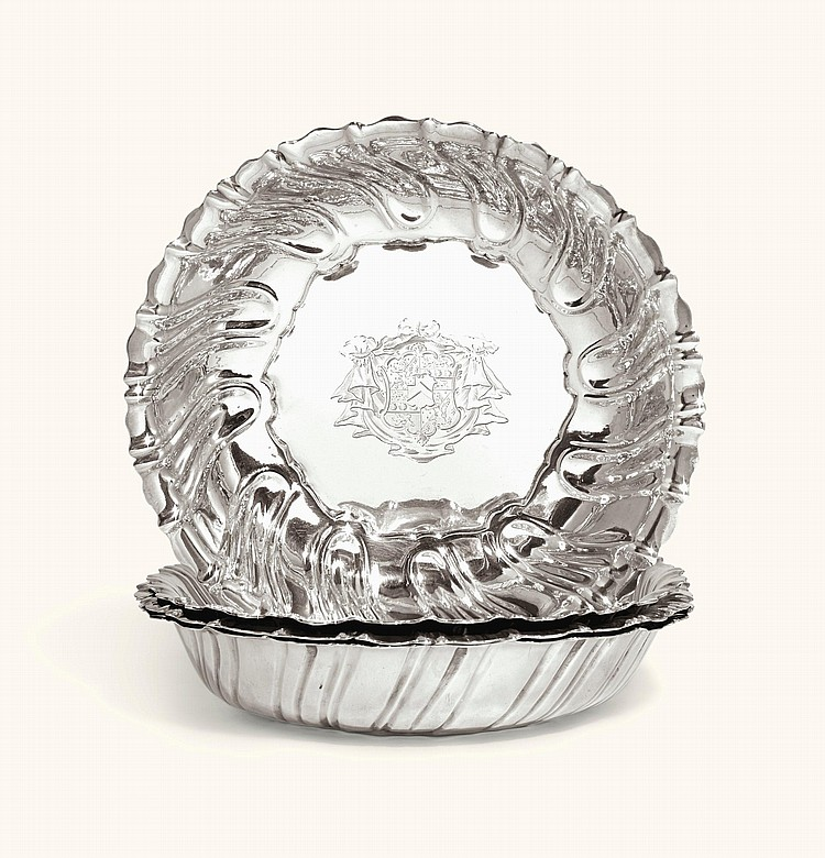 A SET OF FOUR GEORGE II SILVERDISHES, TWO, THOMAS HEMING, TWO NO MAKER'S MARK, LONDON, 1751 |