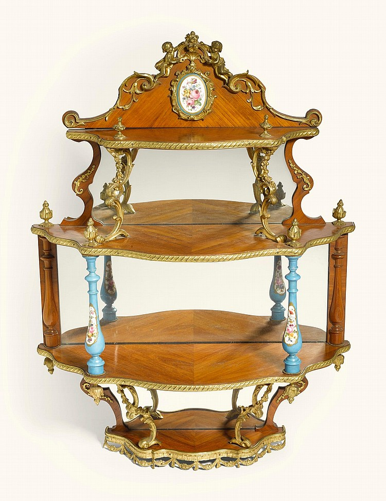 A RUSSIAN GILT-BRONZE AND PORCELAIN MOUNTED TULIPWOOD PARQUETRY WALL ETAGÈRE, GAMBS WORKSHOP AND IMPERIAL PORCELAIN WORKSHOP, ST PETERSBURG CIRCA 1846 |