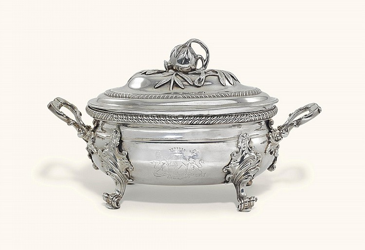 A GEORGE III IRISH SILVER TWO-HANDLED SOUP TUREEN AND COVER, NO MAKER'S MARK, DUBLIN, 1769, THE COVER UNMARKED |