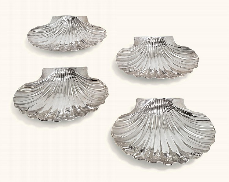 A SET OF FOUR GEORGE II IRISH SILVER SHELL SHAPED DISHES, JOHN LAUGHLIN, DUBLIN, CIRCA 1740/50 |