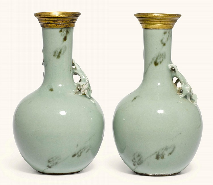 A PAIR OF GILT-BRONZE MOUNTED CHINESE CELADON GLOBULAR BOTTLE VASES, THE PORCELAIN QIANLONG PERIOD, THE MOUNTS 19TH CENTURY |