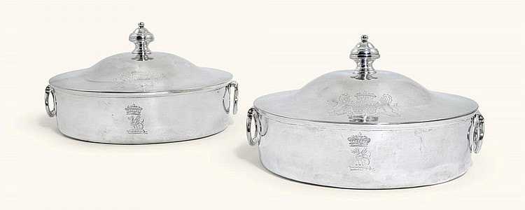 A PAIR OF GEORGE III SILVER ENTREE DISHES AND COVERS, FOGELBERG & GILBERT, LONDON, 1791 |