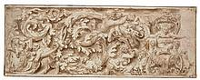ATTRIBUTED TO LELIO ORSI | Design for a frieze, including satyrs, animals and putti entwined with acanthus leaves