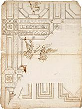 CIRCLE OF PIETRO BUONACCORSI, CALLED PERINO DEL VAGA | <em>Recto</em> and <em>verso:</em> designs for a ceiling decoration with winged figures, a soldier on horseback and grotesque designs