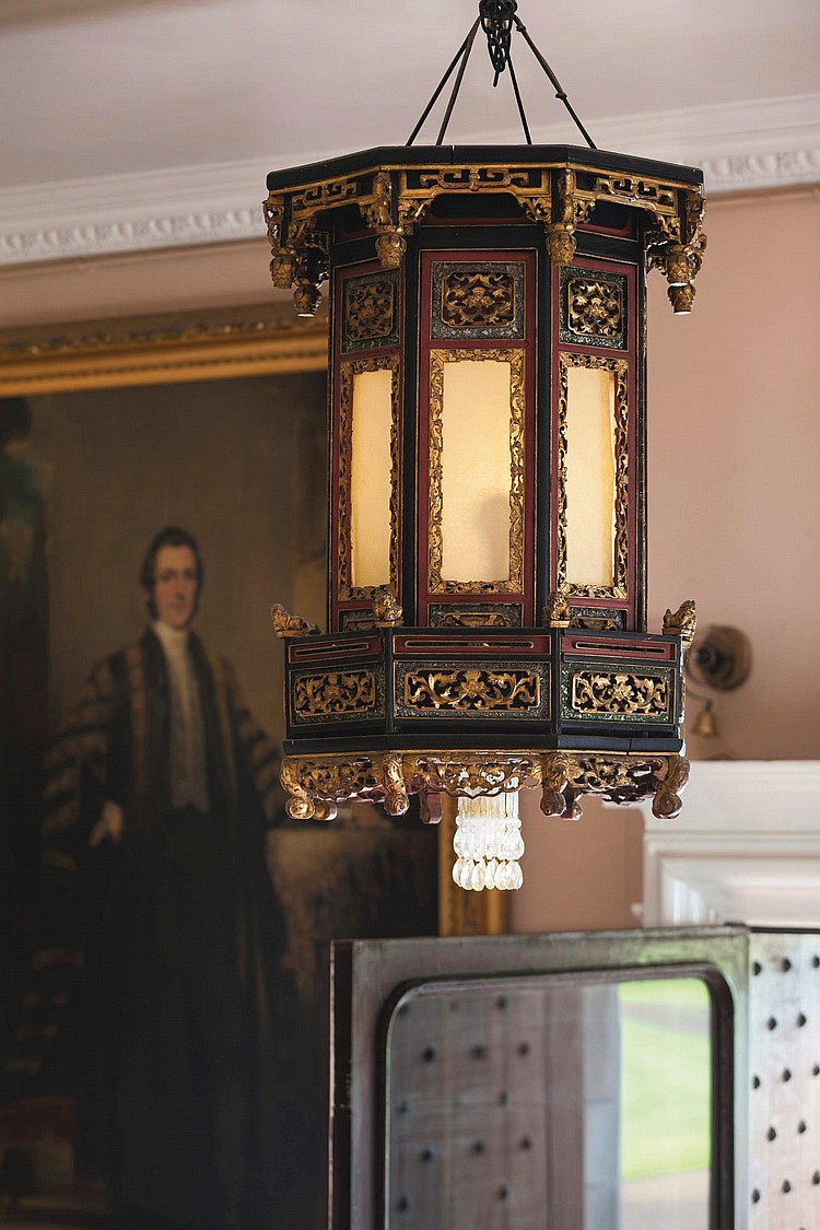 A SINGAPOREAN CARVED AND POLYCHROME OCTAGONAL HALL LANTERN, DATED 1849 |