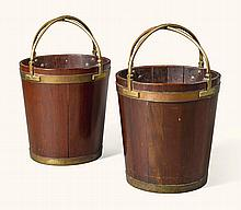 A PAIR OF GEORGE III BRASS BOUND MAHOGANY PEAT BUCKETS, CIRCA 1780 |