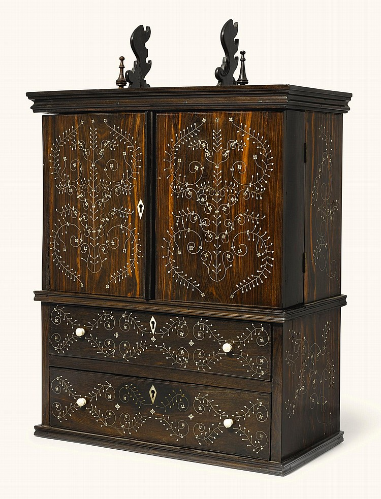 AN ANGLO-INDIANMINIATURE IVORY INLAID EBONY DESK CABINET, MONGHYR, MID-19TH CENTURY |