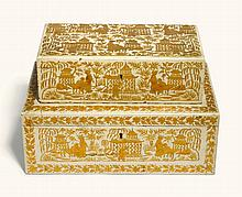 TWO ANGLO-INDIAN GILT DECORATED WHITE GROUND JAPANNED BOXES, BAREILLY, MID-19TH CENTURY |