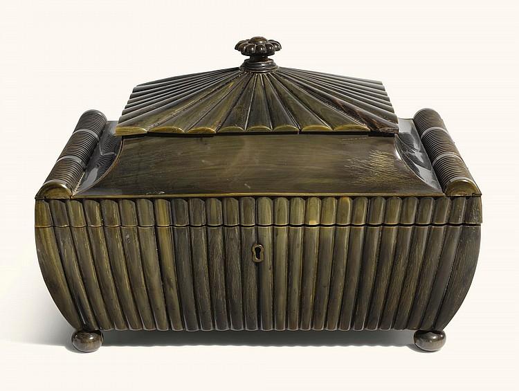 AN ANGLO-INDIANSARCOPHAGUS FORM HORN WORK BOX, VIZAGAPATAM, MID-19TH CENTURY |