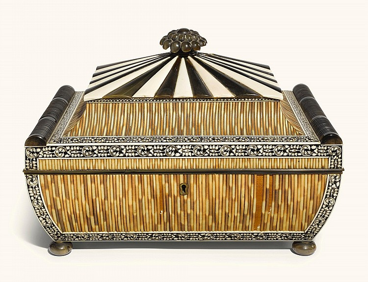 AN ANGLO-INDIAN ENGRAVED IVORY, BUFFALO HORN, PORCUPINE-QUILL AND EBONY SARCOPHAGUS FORMWORKBOX, VIZAGAPATAM, MID-19TH CENTURY  