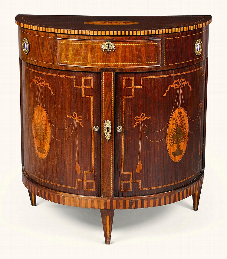 A DUTCH MARQUETRY AND MAHOGANY DEMI-LUNE CABINET, LATE 18TH CENTURY/EARLY 19TH CENTURY |