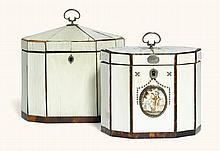 TWOGEORGE III IVORY-VENEERED ANDTORTOISESHELL-BANDED TEA CADDIES, BOTH LATE 18TH CENTURY  