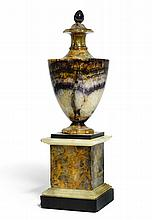 A GEORGE III BLUE JOHN, ALABASTER AND 'ASHFORD MARBLE' URN, DERBYSHIRE, LATE 18TH CENTURY |