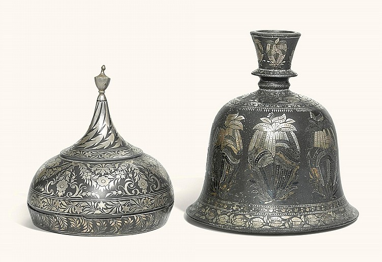 A SILVER-INLAID BIDRIWARE HUQQA BASE AND A SPICE BOX, PROBABLY BIDAR, INDIA, 19TH CENTURY |