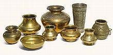 NINE BRASS VESSELS, INDIA, 19TH CENTURY |