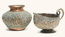 TWO BRASS VESSELS WORKED IN REPOUSSÉ, PROBABLY POONA, INDIA, CIRCA 1900 |