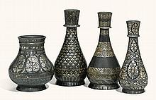 FOUR SILVER-INLAID BIDRIWARE VESSELS, PROBABLY BIDAR, INDIA, 19TH CENTURY |