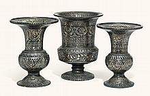 THREE SILVER-INLAID BIDRIWARE SPITTOONS, PROBABLY BIDAR, INDIA, 19TH CENTURY |