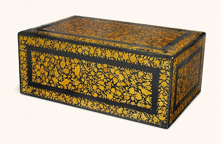 AN ANGLO-INDIAN JAPANNED AND PENWORK RECTANGULAR CASKET, KASHMIR, MID-19TH CENTURY |