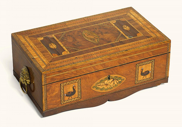 A SCOTTISH GEORGE IV MARQUETRY AND INLAID SPECIMEN HARDWOOD WORKBOX BY JEREMIAH MACKNEIL, CIRCA 1820 |