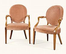 A PAIR OF EDWARDIAN MAHOGANY AND BOXWOOD STRUNG UPHOLSTERED ARMCHAIRS, EARLY 20TH CENTURY |