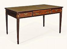 A EDWARDIAN MAHOGANY AND BOXWOOD STRUNG WRITING DESK, EARLY 20TH CENTURY |