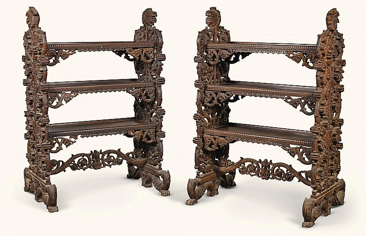 A PAIR OF ANGLO-INDIAN CARVED HARDWOOD ÉTAGÈRES, BOMBAY, THIRD QUARTER 19TH CENTURY |