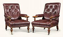 A PAIR OF SCOTTISH VICTORIAN OAK LIBRARY ARMCHAIRS BY MORISON & CO., EDINBURGH, CIRCA 1860 |