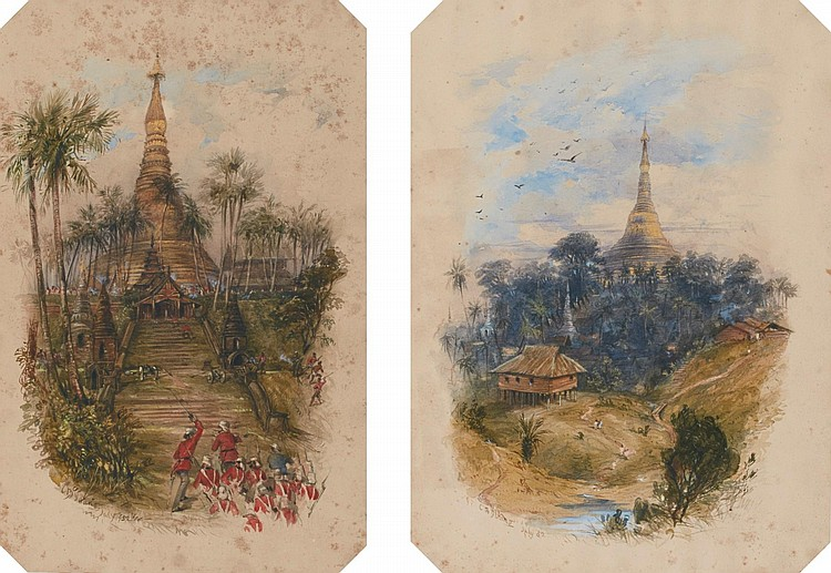 C*** B*** YOUNG | Two views of the Shwedagon Pagoda at Rangoon