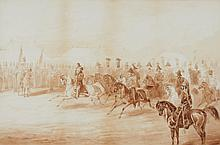GEORGE FRANKLIN ATKINSON   The Marquess of Dalhousie on 'Maharaja' entering camp at Cawnpore
