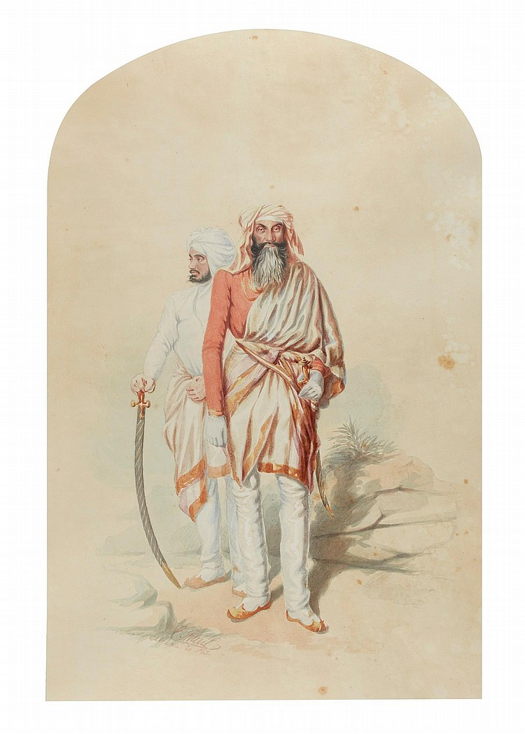 COLESWORTHY GRANT | Portrait of General<strong> </strong>Chattar Singh Attariwalla (d. 1855), with his second son, Attar Singh