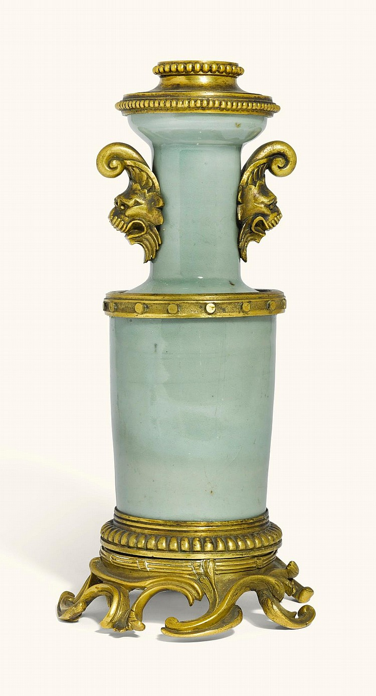 A FRENCH GILT-BRONZE MOUNTED CHINESE CELADON CYLINDRICAL VASE, THE PORCELAIN 18TH CENTURY, THE MOUNTS 19TH CENTURY |