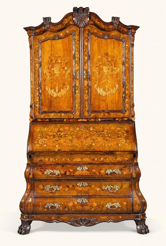 A DUTCH WALNUT AND MARQUETRY BUREAU-CABINET, MID-18TH CENTURY |