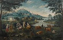 SCOTTISH PROVINCIAL SCHOOL, 18TH CENTURY | Landscape with farmers and milkmaids by a river, castles, houses and a church beyond