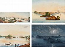 LIEUTENANT W. LESTER | A collection of four views of Fort Bukkurs and the Islands of Said Bugle and Deen Bugle
