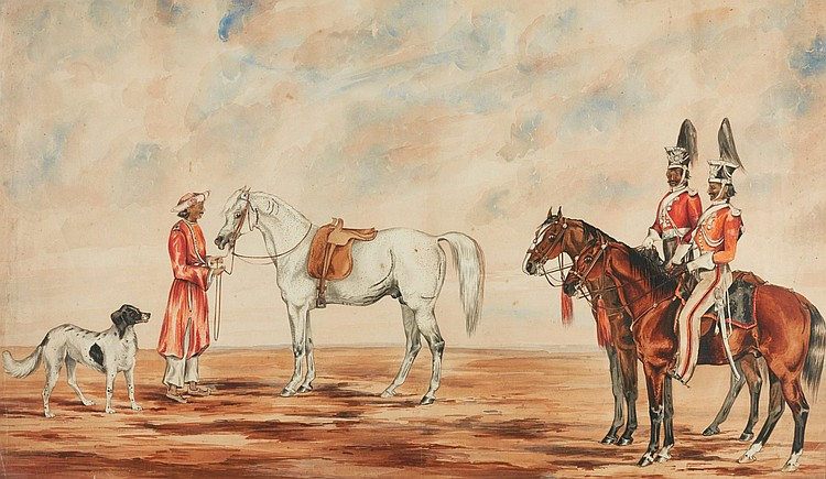 ENGLISH SCHOOL, CIRCA 1850 | Two soldiers on horseback with the Marquess of Dalhousie's favourite Arab horse, <em>Maharaja</em>, and the Marchioness's favourite dog,<em> Minna</em>