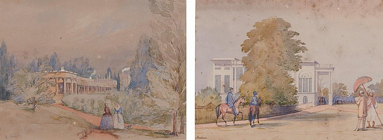 CAPTAIN R. MECHAM | Two landscapes: the first showing Government House, Barrackpore; the secondKotagherry Housein the Nilgiri<strong></strong>Hills
