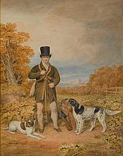 WILLIAM DOUGLAS | Portrait of Gamekeeper Pattison of Dalhousie Castle and his two dogs