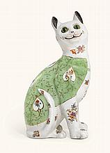 A FRENCH FAIENCE MODEL OF A CAT, LATE 19TH/EARLY 20TH CENTURY |