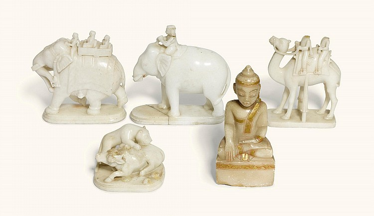 A GROUP OF FOUR INDIAN CARVED WHITE MARBLE SCULPTURES, 19TH CENTURY |