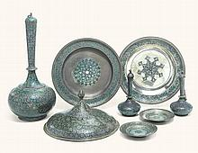 FOUR ENAMELLED SILVER VESSELS, LUCKNOW, INDIA, 19TH CENTURY |